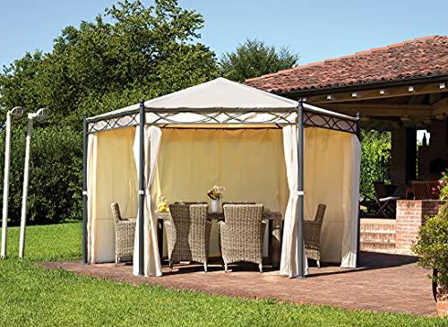 Gazebo da giardino in ferro con tende laterali (ESAGONALE)