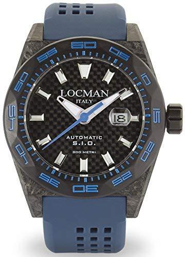 Locman Sigilo/Reloj Hombre/Esfera Al Carbono Negro Y Titanio/Caja/Correa Silicona Azul