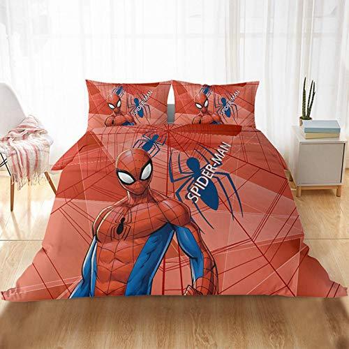 KHDFID Marvel Spiderman - Juego de cama de 2/3 piezas, funda nórdica y funda de almohada con cremallera, microfibra y microfibra, para niños, 135 x 200 cm