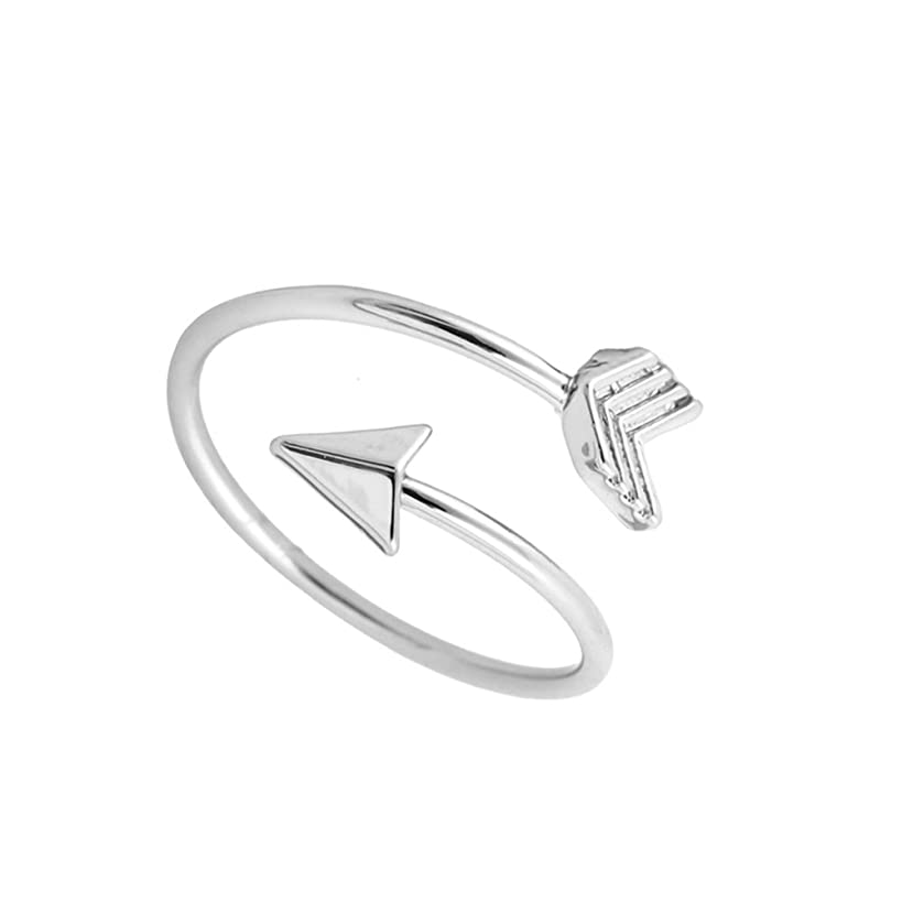 NOUMANDA Adjustable Gold Silver and Rose Gold Plated Simple Small Arrow Rings for Women (Silver)