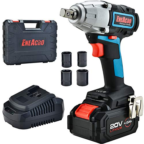 ENEACRO 20V Cordless Impact Wrench Brushless Motor 300 Ft-lbs Torque,4.0 AH Battery