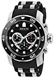 Invicta Men's Pro Diver Scuba 48mm Stainless Steel Quartz Watch with Black Silicone Strap, Black (Model: 6977)