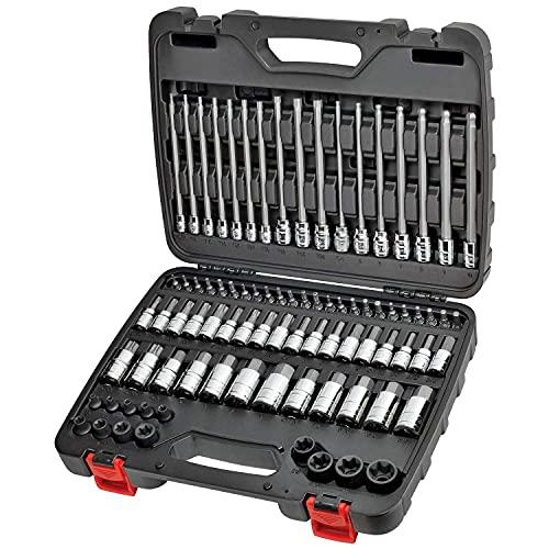 "CARBYNE 84 Piece Master Hex & Torx Bit Socket Set | SAE & Metric, S2 Steel Bits | 1/4"", 3/8"" & 1/2"" Drive"