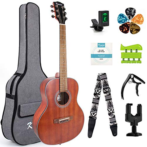"Kmise 38"" Beginner Acoustic Guitar 6 Metal Strings Mahogany Top Guitar Starter Kit with carring bag tuner strap capo hook hanger hand exerciser picks and replacement strings (38 inch)"