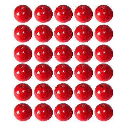 Magideal redondo cuentas de madera DIY Jewelry Making collar Craft conclusiones, 50unidades (elegir tamaño y color)–rojo, 10mm