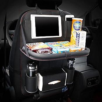 Honcenmax 1 Pack Auto Rückenlehnenschutz Autositz Zurück Organisator Faltbar Esstisch Halter Tablett Multifunktional Schutz Aufbewahrungstasche Trittmatte Reisezubehör Pu Leder Auto