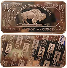 Metal Art Collection - 10 oz Ten Troy Ounce USA American Buffalo .999 Fine Copper Bullion Bar Ingot Cu Element CMCMINT
