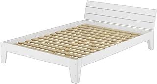 Erst-Holz Lit Double Style Contemporain pin Massif Blanc 140x200, y Compris sommier à Lattes 60.54-14W