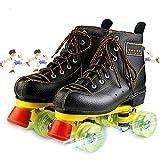 Patines de Patinaje Negro Roller Skates para Mujer Y Hombre 4 Ruedas Patines CláSicos de Piel de Doble Fila para Interior Y Exterior Unisex Adultos,44