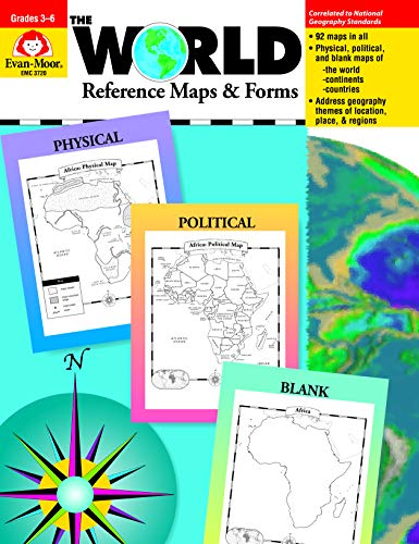 Evan-Moor The World Reference Maps & Forms Book, Grades 3-6 (World & Us Maps)