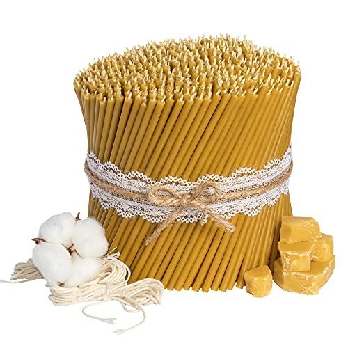 Ritualkerzen Bienenwachskerzen: Honig 700 Stk. L-16 cm, Ø-5,0 mm, Brenndauer 30 Min; natürlich, tropffrei, rauchlos. Dünne Kirchen Qualität, aus Bienenwachs №140