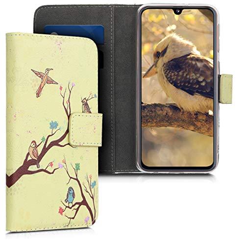 kwmobile Wallet Case kompatibel mit Samsung Galaxy A40 - Hülle Kunstleder mit Kartenfächern Stand Baum Vogel Blüte Orange Braun Beige