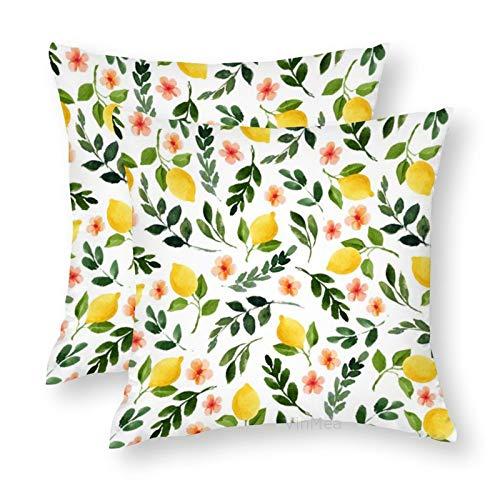 VinMea Set of 2 Decorative Throw Pillow Covers Lemon Grove Silky Cushion Covers for Sofa Home Pillow Cases 20x20 Inch