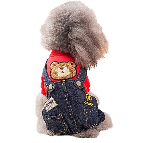 SEHOO犬服 秋冬 かわいい ペット服 犬猫用 デニム パーカー つなぎ コート 小型犬 中型犬 人気(レッド、X...