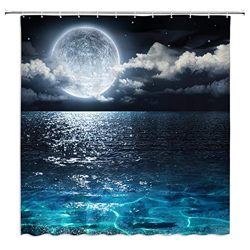 BOYIAN Ocean Shower Curtain Decor Full Moon in The Sky Dreamy Clouds Stars Tranquil Seascape Navy Fabric Bath Curtains Bathroom Accessories Polyester with Plastic Hooks 70x70 Inch