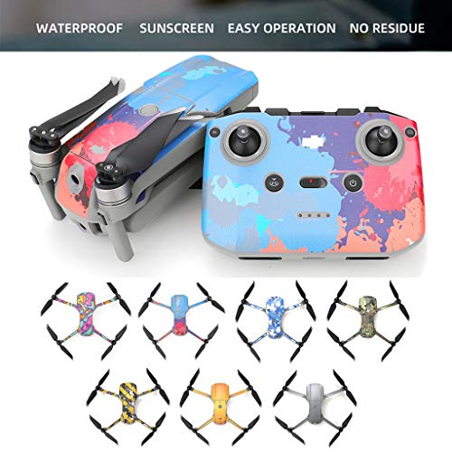 CUEYU Aufkleber Skin Folie Set für DJI Mavic Air 2 Drone, 1 Set Wasserdichter PVC Aufkleber Skin Folie Cover + 4 Akku Skins Kompatibel mit DJI Mavic Air 2 (F)