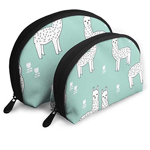 XCNGG Bolsa de almacenamiento de dibujos animados lindo arte de alpaca portátil de viaje maquillaje bolso impermeable organizador de artículos de tocador bolsas de almacenamiento