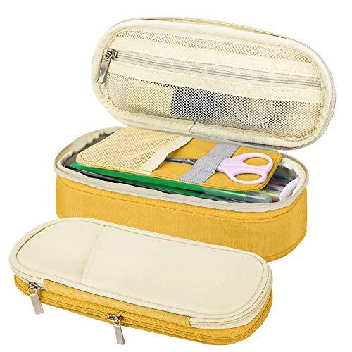 MoKo Caja Estuche de Lápices, Bolsa Organizador de Accesorios Escritorio de Ordenado Portalápices Almacenamiento Accesorio Titular Bolsa de la Pulma para Oficina Viaje Maquilaje - Beige + Amarillo