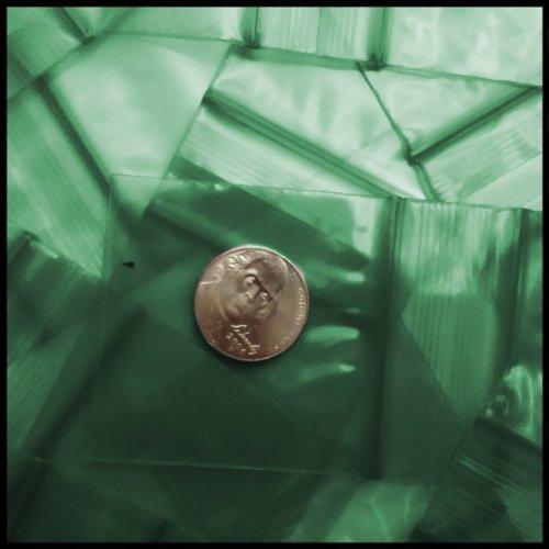 "Small Plastic Recyclable Bags 100 2020 Color Apple Mini Ziplock Baggie Colored Mix 2"" X 2"" (Green)"