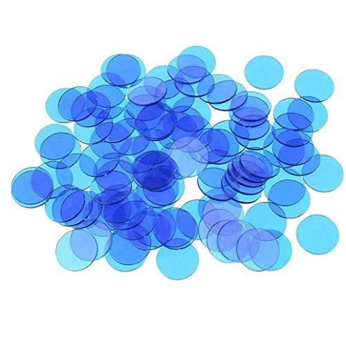 100PCS Colorful Clear Plastic Count Transparent Bingo Chip Marks Portable Bingo Game Cards Puzzle Toy (Blue)