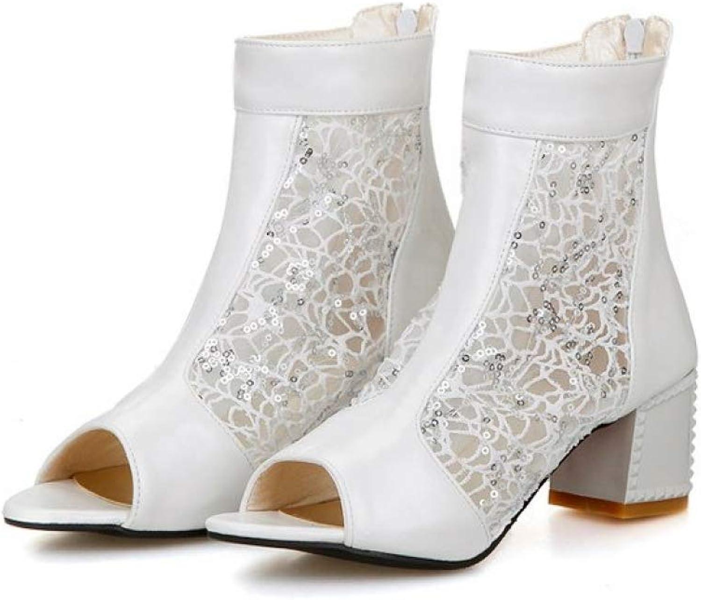 Kvinnor Chunky Heeled Sandal Peep Peep Peep Toe maska Andningsbar Lace kort Booslipss Zipper Damerna Elegant skor  är diskonterad
