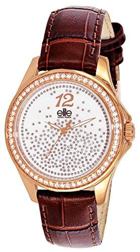 ELITE Femmes Analogique Quartz Montre connectée avec Bracelet en Cuir E54242G-805