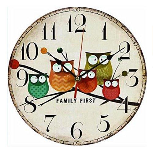 QMMCK Dekorative Stille Holz Uhr Nicht Tickende Vintage Landhausstil Wanduhren Für Schlafzimmer Küche Wohnzimmer Dekorationen 014
