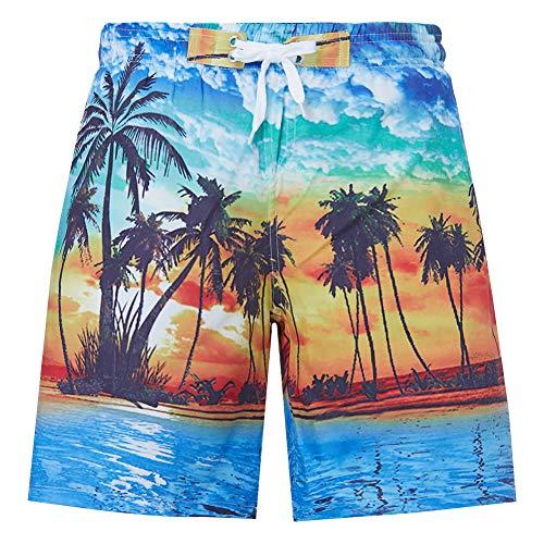 RAISEVERN 12Years Leggings für große Jungen Hawaii Printed Beach Board Shorts Schnell trockene Badehose Coco Palm