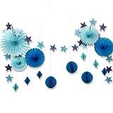 SUNBEAUTY 誕生日飾り付けセット すぐに使える【ペーパーファン スターガーランド ハニカムボール】写真背景 インテリア 一歳 2歳 3歳 バースデー デコレーション (ブルー系)