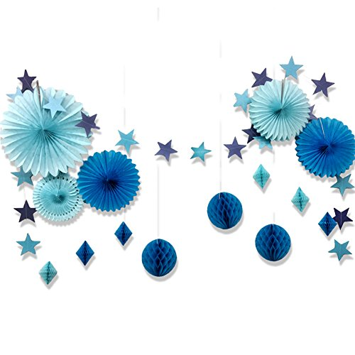 SUNBEAUTY Tisseu Paper Fans Paper Honeycomb Balls Blue Star Hanging String Garland Banner for Birthday Party Baby Shower Wedding Party Home Decorations