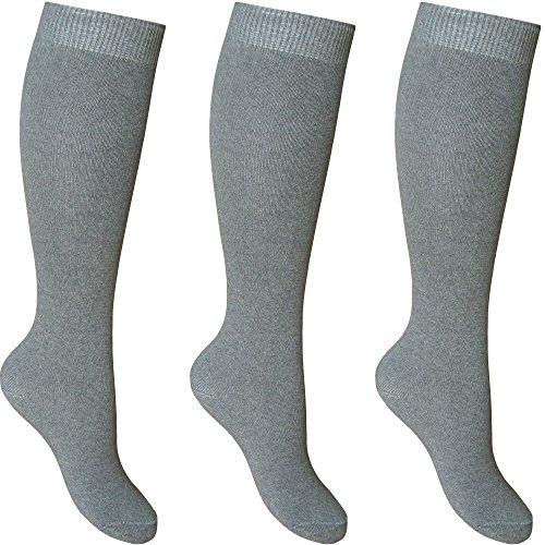 Calcetines escolares altos hasta la rodilla, de algodón, para chicas, paquete de 3pares Gris gris