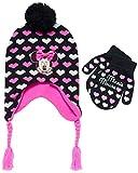 Disney Girls Minnie Mouse Winter Hat and Mitten or Glove Set (Toddler/Little Girls) (Minnie Pink All Stars, Age 2T-4T)