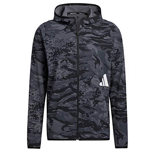 adidas FL 3bar Camo FZ Sweatshirt für Herren, Herren, Sweatshirt, GL8926, Schwarz, L