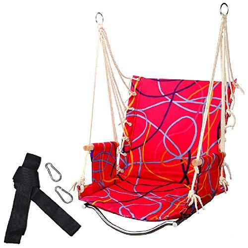 Balançoires YXX Fauteuil Suspendu hamac Porche, Suspendu Corde Siège de avec 1 Oreillers, 2 Crochets, Capacité de 100 kg - for Chambre à Coucher, terrasse, Jardin (Color : Red)