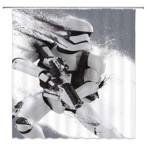 Science Fiction Warrior Shower Curtains Tech Robot Soldier Alien War Bathroom Decor Background Waterproof Polyester Fabric Home Bathroom Accessories Curtain Set Non-Peva 69 x 70 inch With Hooks