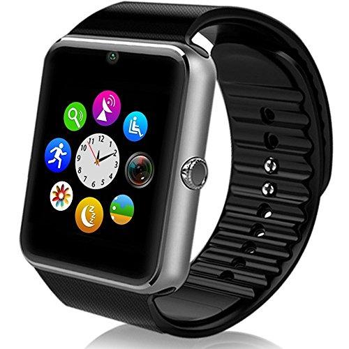 HATCHERHGGD MSRM - Reloj Inteligente Resistente al Agua para Android 4.2 o Superior y iPhone 5S/6/6S/7/7S, Color Plateado