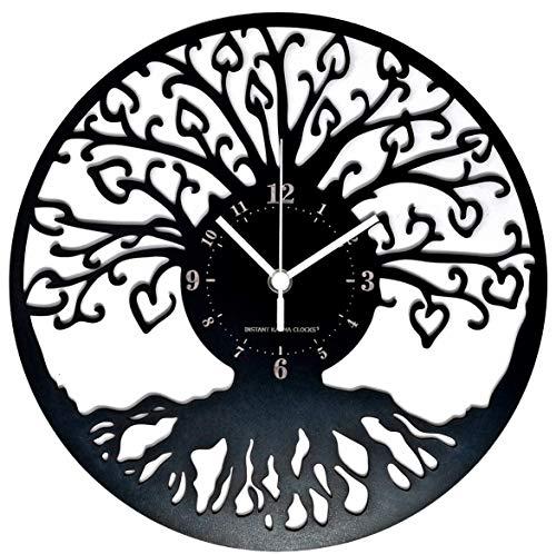 Instant Karma Clocks Orologio da Parete Albero della Vita Cosmologia Cabala, Nero Legno, 30cm