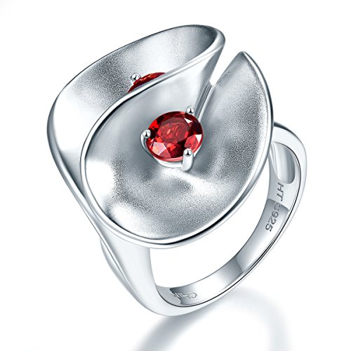 hutang Jewelry 925Sterling Silber Natur Rot Granat Floral Edelstein Ring
