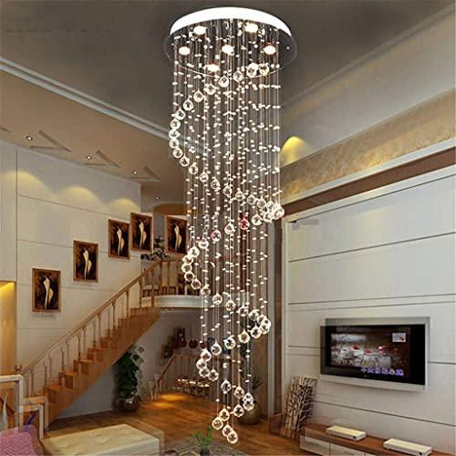 FGVBC Lumières de Lustre en Cristal, Lustre en Forme de Goutte de Pluie en Cristal K9 Moderne éclairage encastré LED plafonnier Suspension, D70H250CM (9 têtes)