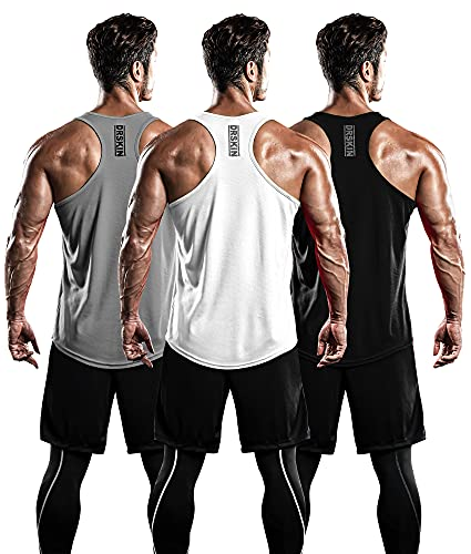 DRSKIN Men's 3 Pack Dry Fit Y-Back Muscle Tank Tops Mesh Sleeveless Gym Bodybuilding Training Athletic Workout Cool Shirts (BTF-ME-TA-(B,W,G), 2XL)