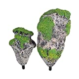 TOPINCN Fish Tank Floating Rocks Ornaments, Decorative Aquarium Landscape Moss Flying Suspended Green Simulation Stone (S)