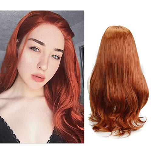 Eseewigs Kupfer Rot Lange Welle Perücke Synthetisches Haar Lockige Lace Front Perücken Hitzebeständige Fibe Freies Teil Mode Stil 130% Dichte für Frauen 24 zoll
