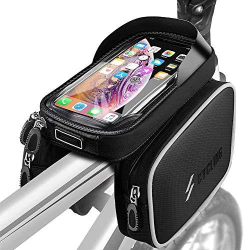 Fahrrad Rahmentasche, Fahrrad Handytasche Wasserdicht mit TPU Touchscreen Fahrrad Oberrohrtasche mit Kopfhörerloch für 6 Zoll Handys,GPS Navi, Fahrrad Lenkertasche für MTB, Rennrad, Straßenrand