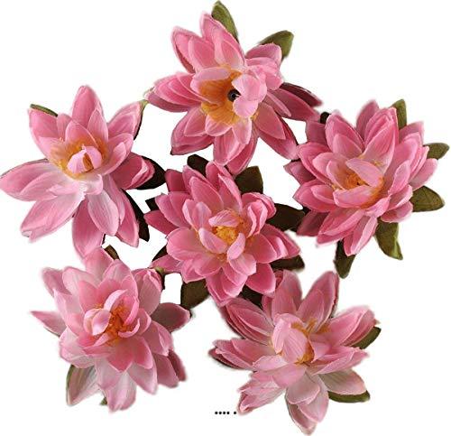 Artif-deco - Tetes de lotus x6 rose chaud en sachet d 7 50 cm - choisissezvotrecoloris: rose chaud