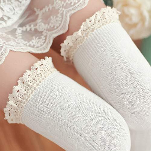 YAOLAN Calcetines Cordón de la Alta Rodilla del Tubo Largo Mujeres Calcetines, Tamaño: Un tamaño (Color : Blanco)