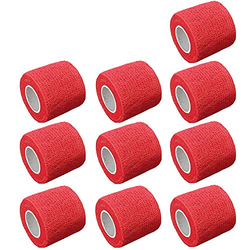 ESUPPORT 2 Inches X 5 Yards Self Adherent Cohesive Wrap Bandages Adhesive Strong Elastic First Aid Tape for Wrist Ankle Red Pack of 10