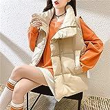 Chaleco De Plumón Corto Para Mujer Chaleco Acolchado Cálido De Solapa Suelta De Invierno Chaqueta Sin Mangas De Talla...