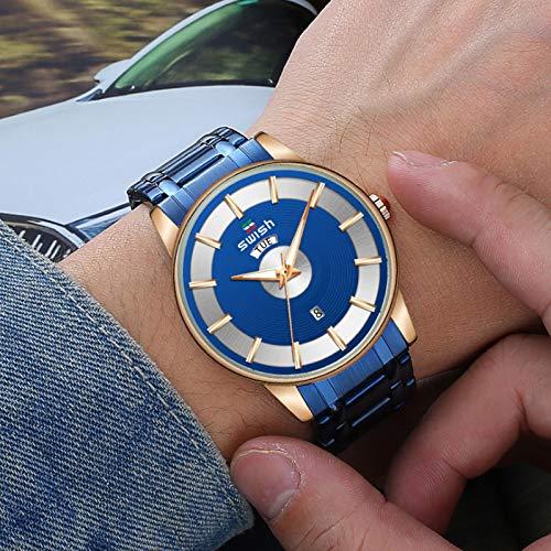 MLHXHX Reloj de hombre, correa de acero, impermeable, reloj masculino, reloj luminoso, azul
