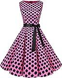 Bbonlinedress Womens Vintage 1950s Boatneck Sleeveless Retro Rockabilly Swing Cocktail Dress Pink Black BDot M