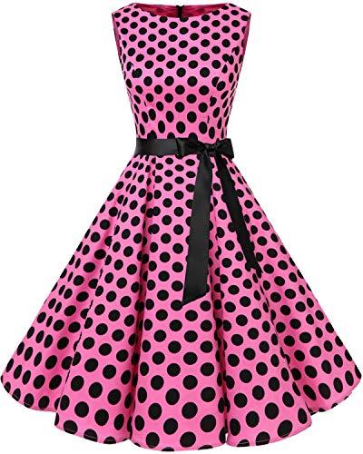 Bbonlinedress 50s Retro Schwingen Vintage Rockabilly Kleid Cocktail Faltenrock Pink Black BDot L